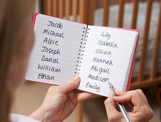 Banned name quiz: woman writing a list of names