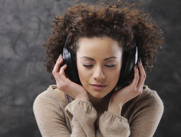 relaxing sounds: woman on headphones
