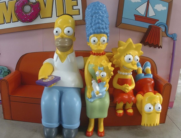 Display of The Simpsons characters on their couch