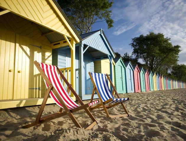 Beach huts and deckchairs on the beach