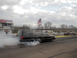 Arne's hearse can do a quarter mile in less than 10 seconds