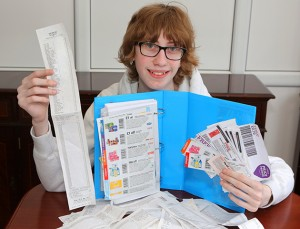 ***EXCLUSIVE***  ESSEX, UNITED KINGDOM - UNDATED: Bargain hunter Jordan Cox, 16, poses with his coupons and receipt of things bought with them in Essex, England.  SCHOOLBOY Jordon Cox is an expert in extreme couponing. The 16-year-old collects vouchers for his mum so she can save money on the weekly shop. He even brought a £105 supermarket bill down to just £1.62. Jordan, from Brentwood, Essex, has become so expert at saving money that he has more than 2,000 followers on Twitter.  PHOTOGRAPH BY Matt Writtle / Barcroft Media  UK Office, London. T +44 845 370 2233 W www.barcroftmedia.com  USA Office, New York City. T +1 212 796 2458 W www.barcroftusa.com  Indian Office, Delhi. T +91 11 4053 2429 W www.barcroftindia.com