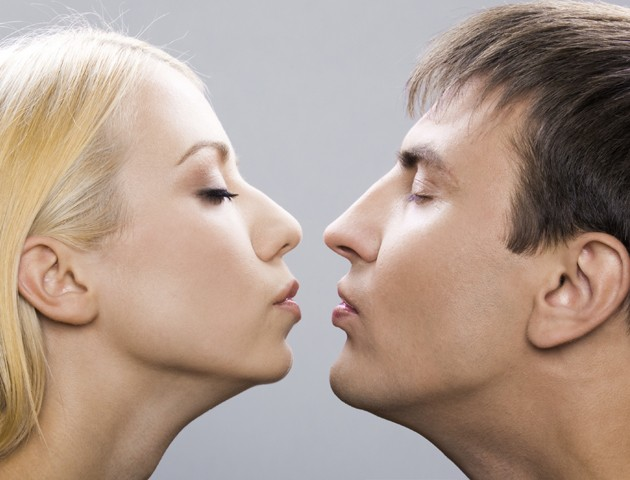 kiss between man and woman