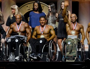 *** VIDEO - AVAILABLE ***  COLUMBUS, OH - MARCH 05: Wheelchair bodybuilding contestants and their partners at the 2016 Arnold Classic on March 5, 2016, in Columbus, Ohio.  WHEELCHAIR bodybuilders have spoken of their joy at finally competing on the stage made famous by Arnold Schwarzenegger. Ten muscular men rolled into Columbus, Ohio, to flex their pecs at the 2016 Arnold Classic Pro Wheelchair in March. The prestigious competition was the culmination of years of hard work by organiser and former champion bodybuilder Nick Scott. The inaugural event was won by sport legend Harold Kelley, 44, who had won the seven out of eight of the previous events. Organisers now hope to take the burgeoning sport, which gives hope to dozens of paralysed athletes around the world, to the Olympia stage in Las Vegas.  PHOTOGRAPH BY Matt Hubbard / Barcroft USA  UK Office, London. T +44 845 370 2233 W www.barcroftmedia.com  USA Office, New York City. T +1 212 796 2458 W www.barcroftusa.com  Indian Office, Delhi. T +91 11 4053 2429 W www.barcroftindia.com