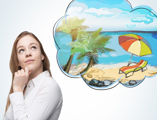 image of girl with bubble overhead dreaming of a holiday