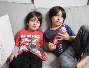 ***PLEASE NOTE - THERE IS AN ONLINE EMBARGO ON THIS STORY UNTIL 00.01 ON FRIDAY APRIL 15 2016***  *** EXCLUSIVE - VIDEO AVAILABLE ***  SHEFFIELD, UNITED KINGDOM ? JANUARY 23: Twins Kai and Caleb at home on January 23, 2016 in Sheffield, England.  A couple who allow their twin boys to wear dresses and play with dolls say their relaxed parenting will make their sons better fathers. Gabriella Haughton-Malik and husband Joe Haughton-Malik, from Sheffield, allow their five-year-old twins, Caleb and Kai, to make their own decisions when it comes to dressing up and choosing their toys. And as well as toy guns, cars and lego, the excitable twins also love princess dresses, dolls houses and playing hairdressers.  PHOTOGRAPH BY Mark Forrer / Barcroft Media  UK Office, London. T +44 845 370 2233 W www.barcroftmedia.com  USA Office, New York City. T +1 212 796 2458 W www.barcroftusa.com  Indian Office, Delhi. T +91 11 4053 2429 W www.barcroftindia.com