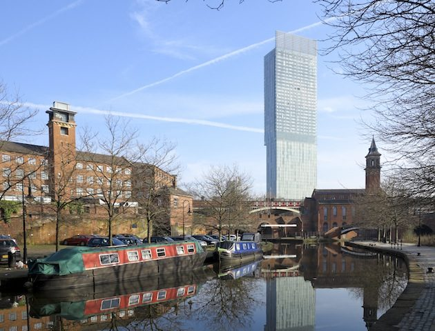 Manchester canals with architecture old and new