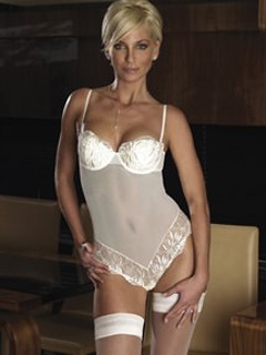 Sarah Harding models transparent basque and stockings