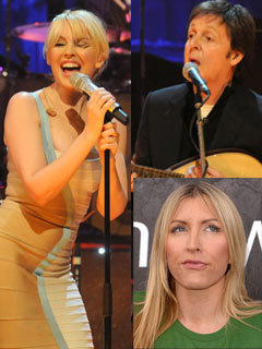 Sir Paul McCartney, Kylie Minogue and Heather Mills