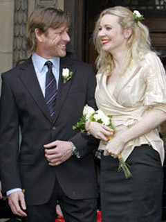Sean Bean and Georgina Sutcliffe on their wedding day