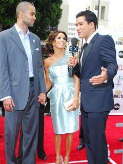 Eva Longoria, husband Tony Parker and Mario Lopez