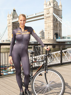 Gemma Atkinson turns heads at Tower Bridge