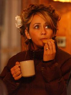 Samia Smith has a coffee break