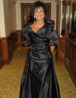 Shirley Bassey makes a statement in ruffles