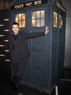 David Tennant checks out his Tardis