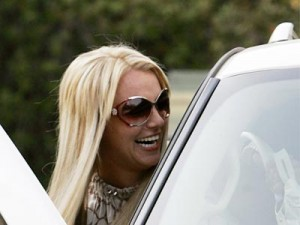 Britney Spears looks happy