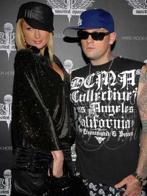 Paris Hilton goes for the rock chick look