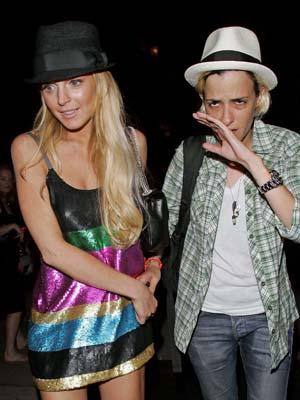Lindsay Lohan and Samantha Ronson wear matching bracelets