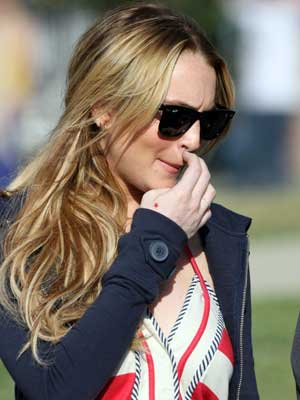 Lindsay Lohan's nostril feels a bit odd