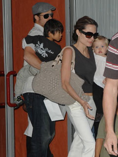 Angelina Jolie and Brad Pitt gather up the kids