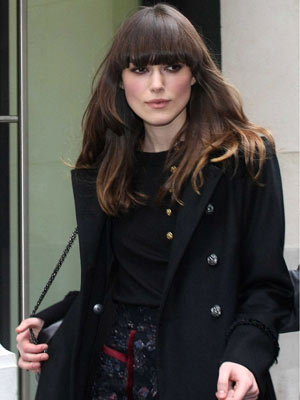 Keira Knightley shows off her new fringe | Pictures | Now Magazine | Celebrity Gossip