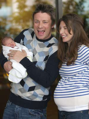 Jamie Oliver | Jamie Oliver shows off new daughter Petal Blossom Rainbow | pictures | now magazine | celebrity gossip