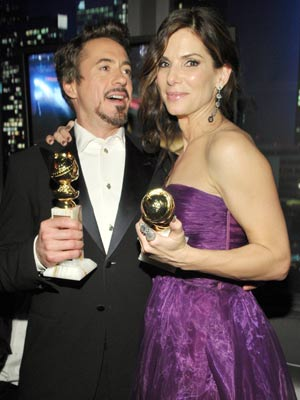 Robert Downey Jr and Sandra Bullock| Golden Globes 2010: the after-party| pictures | now magazine| celebrity gossip