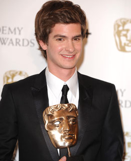 Andrew Garfield shows off his Bafta