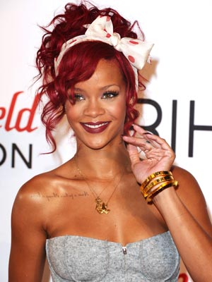 Rihanna rocks red hair and dress to turn on new Christmas lights | Pictures | Photos | Celebrity | Gallery | Style | Now Magazine