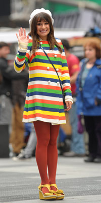 Lea Michele | Glee Filming in Times Square | Pictures | Photos | New
