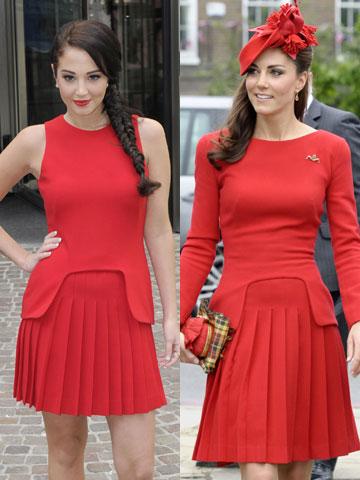 Tulisa and Kate Middleton | Alexander McQueen dress | Queen's Jubilee