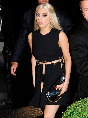 Lady Gaga Wears That Liz Hurley Versace Safety Pin Dress
