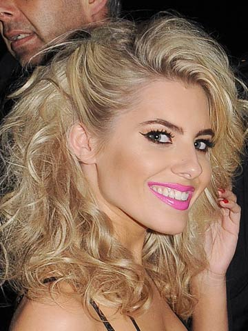 Mollie King Rocks Huge 80s Hair And Sexy Neon Pink Lips To