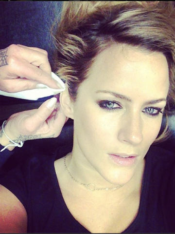Ouch! Caroline Flack's ear hurts after mystery 'tattoo ...