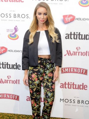 23e24543fb TOWIE s Lauren Pope is on-trend in floral trousers and tummy-flashing crop  top at Attitude party