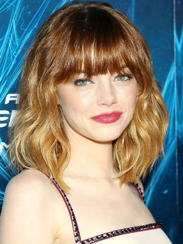 Wow Andrew Garfield Emma Stone Shows Off Hot New Fringe