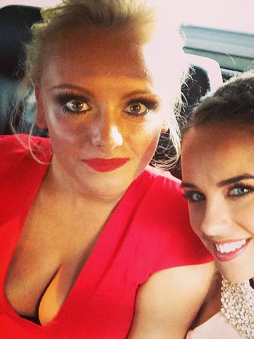Katie Mcglynn Stuns In Very Low Cut Hot Red Dress At