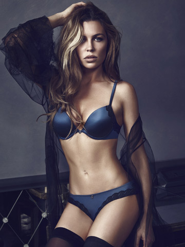 e17bfb1c7d Lucky Peter Crouch! Abbey Clancy strips to bra and knickers to model ...