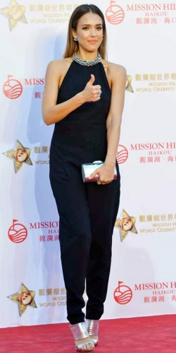 Jessica Alba wears an embellished jumpsuit to the Mission Hills World Celebrity Pro-Am golf tournament in China