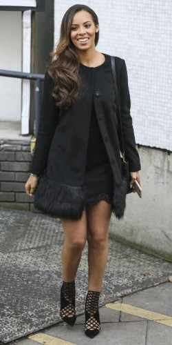 Rochelle Humes wears all black at ITV studios in London