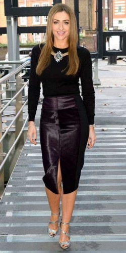 Gemma Merna models black pencil skirt and black top for Hollyoaks cast screening