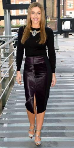 Gemma Merna models black pencil skirt and black top for Hollyoaks cast screening