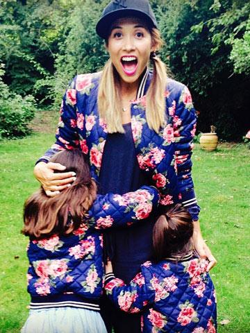Myleene Klass with daughters Ava and Hero Instagram picture September 2014 Now magazine