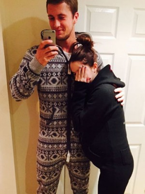 10193ee659b76 Aw! Dan Osborne and pregnant Jacqueline Jossa go for a walk in matching  onesies – to bring on labour?!
