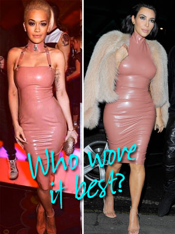 Why Kim Kardashian And Rita Oras Same Latex Dress Dramz Is Way