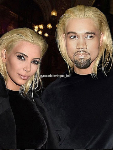Kim Kardashian And Kanye West With Mock Up Blond Hair