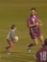 Still from Queensland vs. New South Wales Legends of League charity rugby match