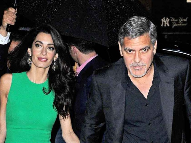 George gives Amal a sushi restaurant in London for Anniversary? GeorgeandAmal290915-630x472