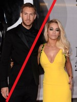 Mandatory Credit: Photo by David Fisher/REX Shutterstock (3585785ie) Calvin Harris and Rita Ora The Brit Awards, Arrivals, O2 Arena, London, Britain - 19 Feb 2014