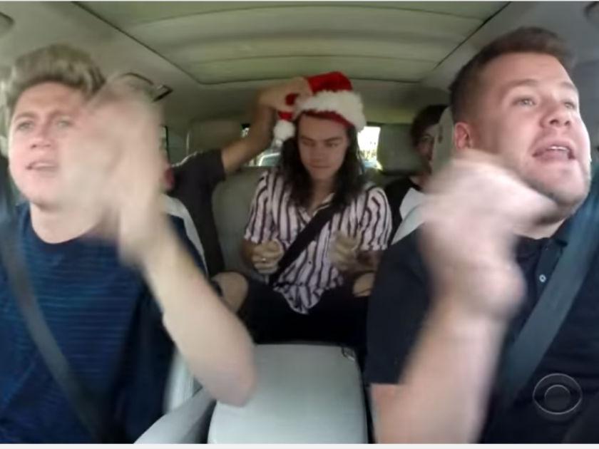 WATCH! James Corden does Christmas Carpool Karaoke… and Harry Styles wears a santa hat!
